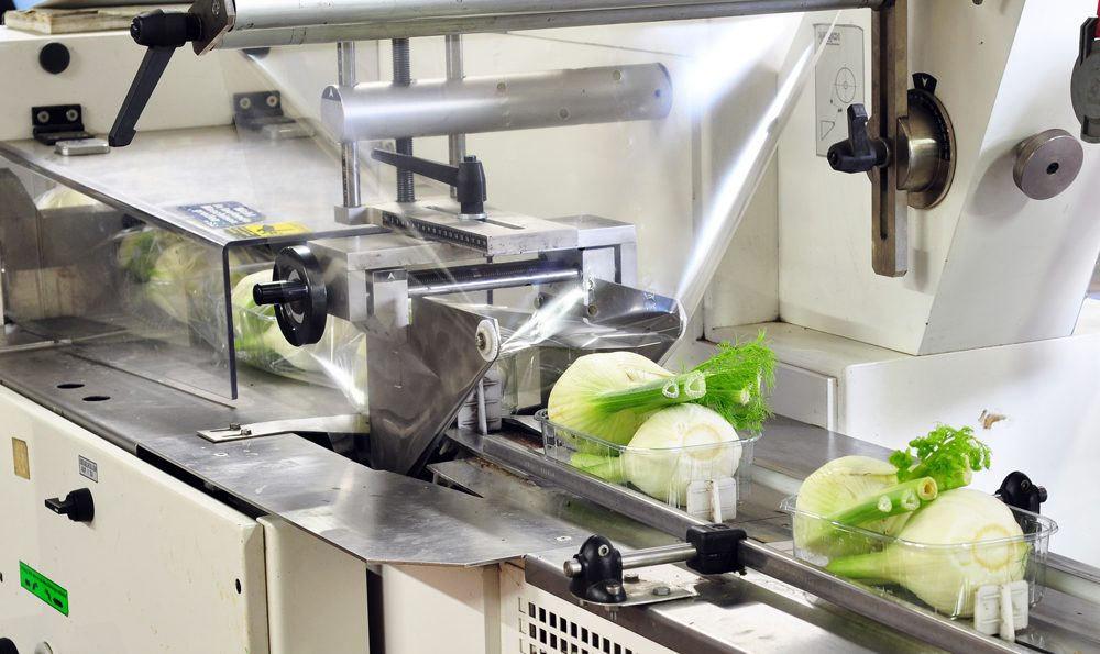 Verpacken von Lebensmitteln mit Schlauchfolie